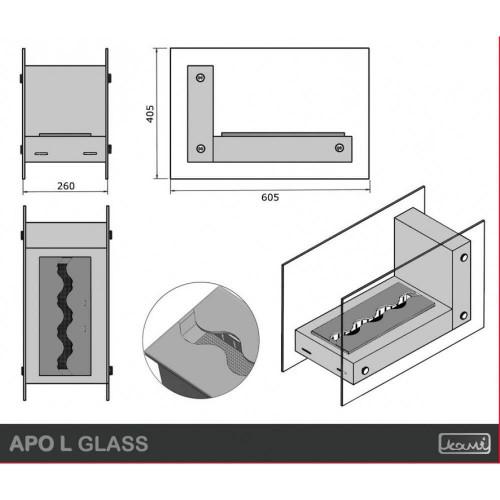 Настільний біокамін Kami Apo L Glass