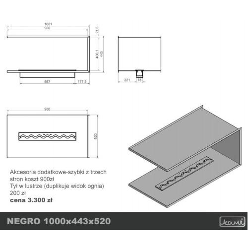 Біокамін Kami NEGRO 1000x443x520