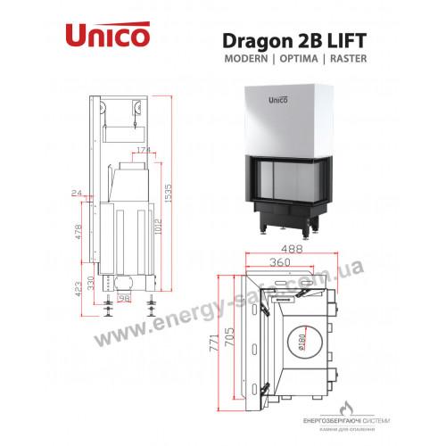 Камінна топка Unico DRAGON 2B LIFT Optima (роздільне скло), 4-13 кВт