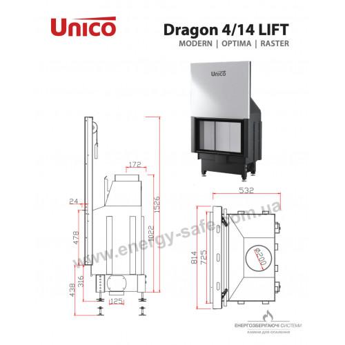 Камінна топка сталева Unico DRAGON 4/14 LIFT Optima