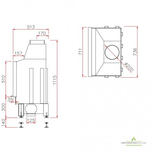 Камінна топка Unico DRAGON 4/14 XL Raster, 4-14 кВт