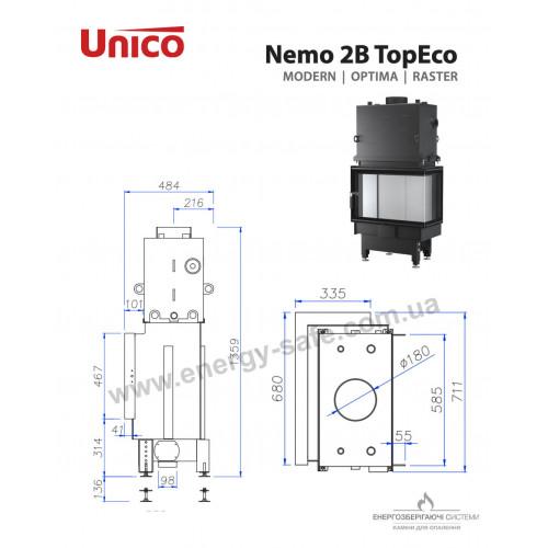 Камінна топка Unico NEMO 2B TOPECO Optima, 15кВт