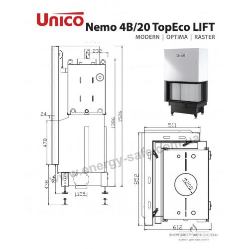Камінна топка Unico NEMO 4B/20 TOPECO LIFT Modern, 19,5 кВт