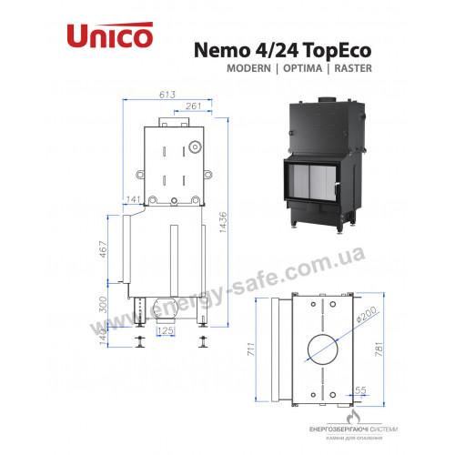 Камінна топка Unico NEMO 4/24 TOPECO Modern, 21,3 кВт