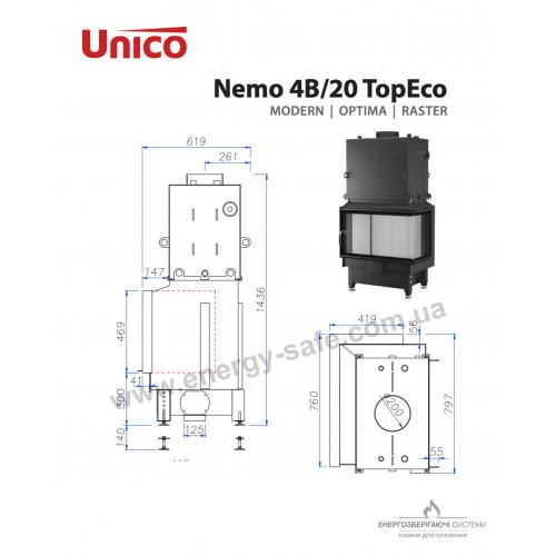 Камінна топка Unico NEMO 4B/20 TOPECO Modern, 19,5KW