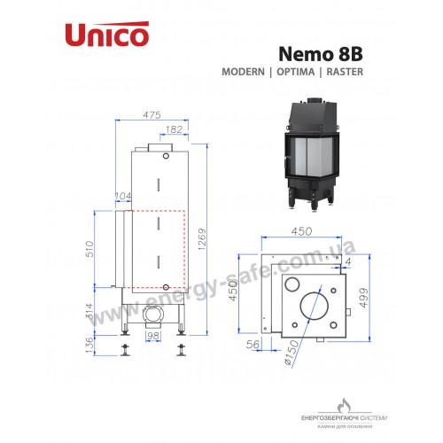 Каминная топка Unico NEMO 8B Modern , 12кВт