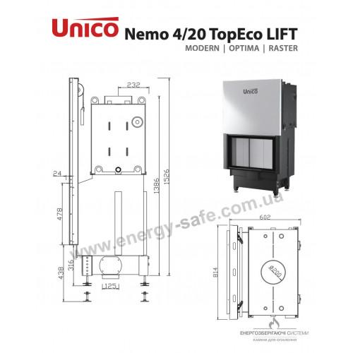 Каминная топка Unico NEMO 4/20 TOPECO LIFT Modern, 20 кВт