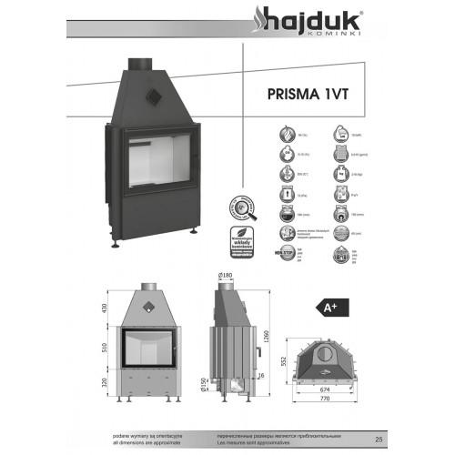 Каминная топка Hajduk PRISMA 1VT, 8 кВт
