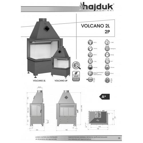 Угловой камин VOLCANO 2PT, 11 кВт