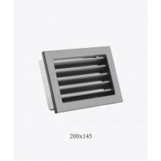 Металлическая решетка Ventlab с нерегулируемыми жалюзи, 200x145мм черная