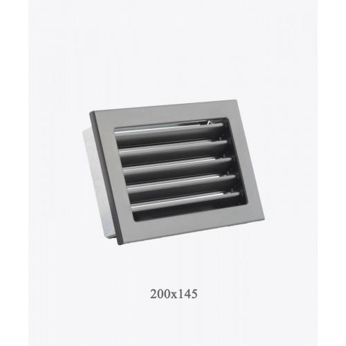 Металеві грати Ventlab з нерегульованими жалюзі, 200x145мм чорна