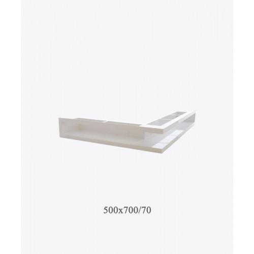 Вентиляційна решітка тунельна кутова V-OPEN-L, біла, 500х700х70