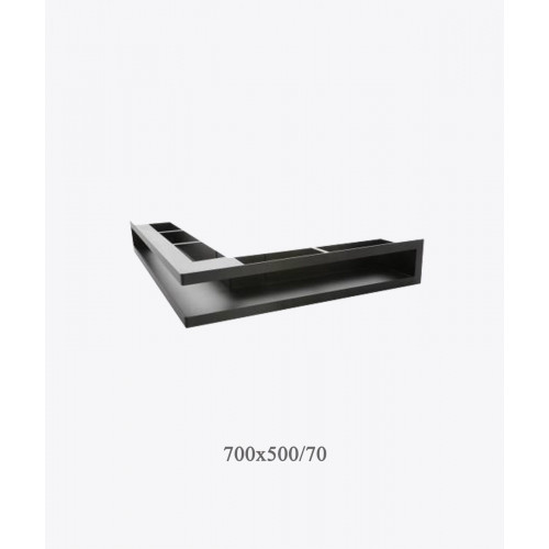 Вентиляційна решітка тунельна кутова V-OPEN-L 500х700 / 70, чорна