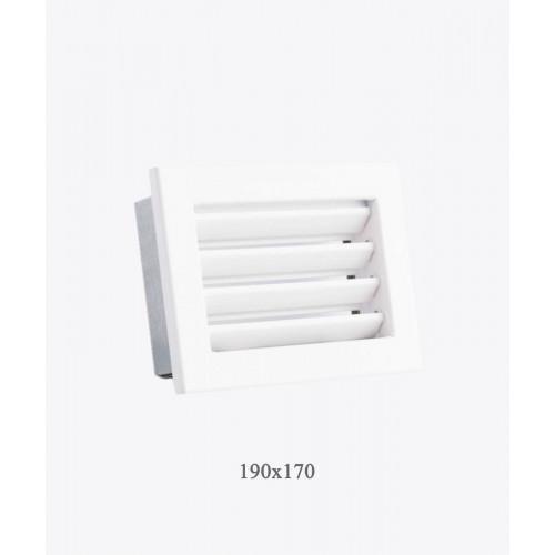 Вентиляційні решітки Ventlab з нерегульованими жалюзі, 190х170мм біла