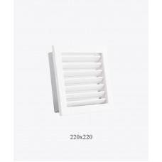 Вентиляционная решетка для камина Ventlab с нерегулируемыми жалюзи, 220х220мм белая