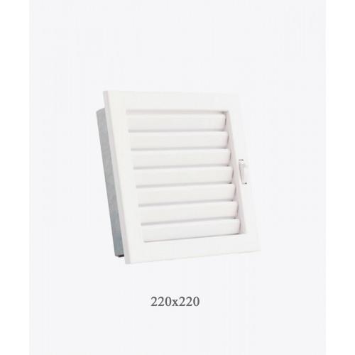 Решітка Ventlab з регульованими жалюзі, 220х220мм біла