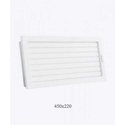 Решетка Ventlab с регулируемыми жалюзи, 450х220мм белая