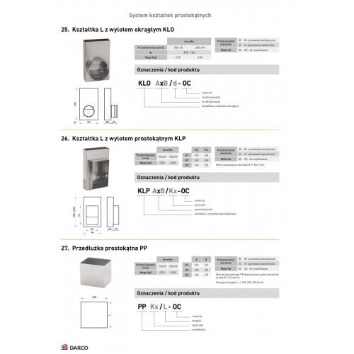 Касета для решітки бічна KLP 90х200мм (для реш. 135х195мм)