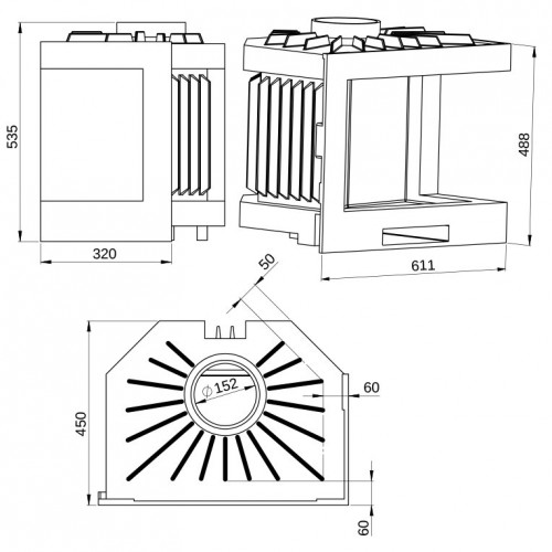 Угловая чугунная топка-кассета Tarnavva Primero corner, 14кВт