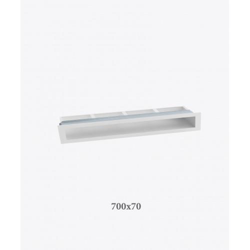 Решітка для каміна тунельна V-OPEN 700х70, біла