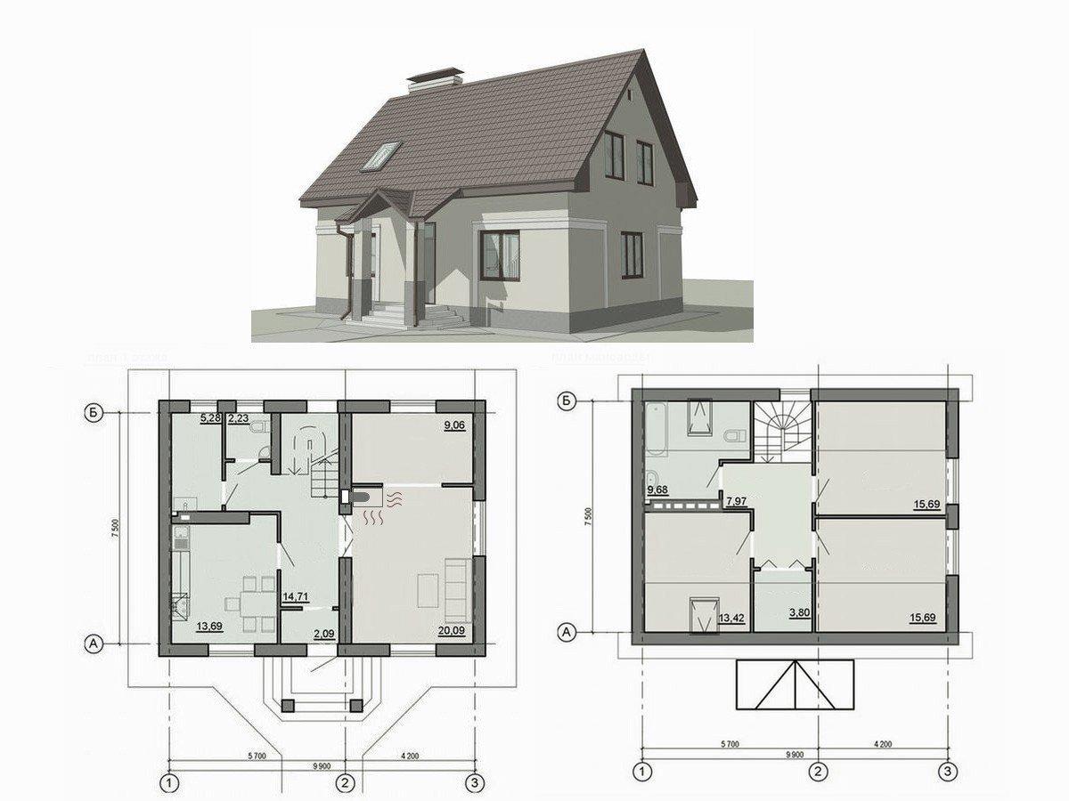 Проект будинку з каміном