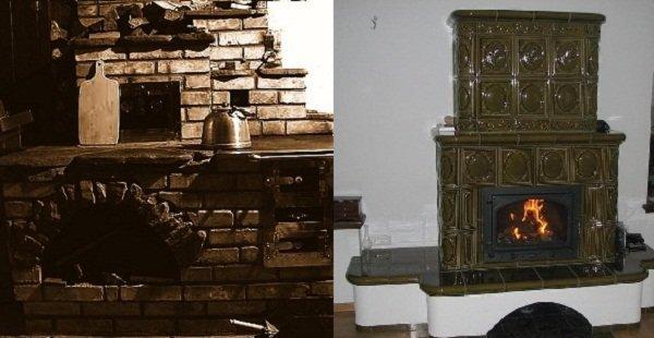 камин с системой отопления